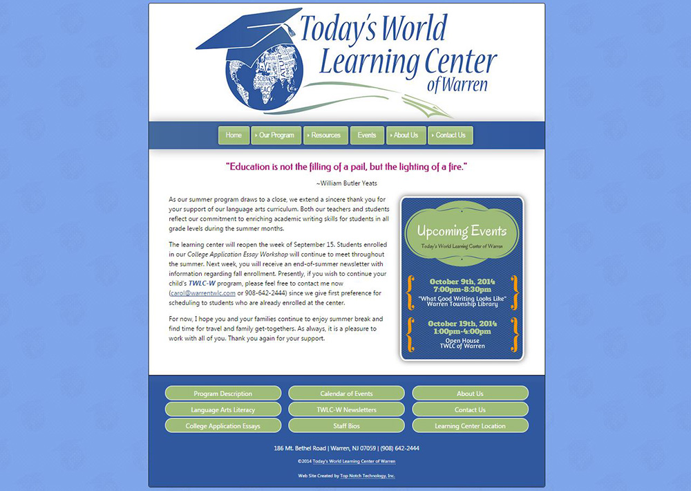 Today's World Learning Center of Warren